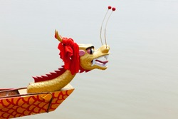 Chinese traditional red dragon boat