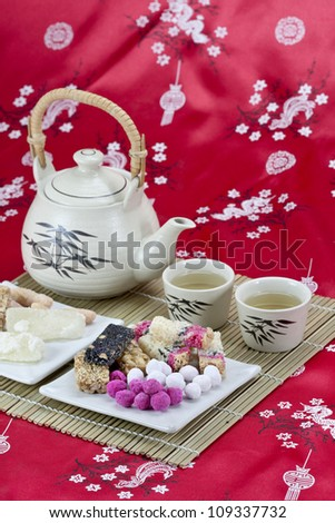 chinese traditional  snacks with tea
