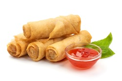 Chinese Traditional Spring rolls, isolated on white background.