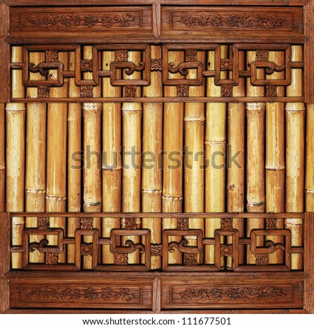 Chinese Traditional wood on bamboo background