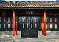 Chinese traditional wooden ornamented doors, the sample of Lingnan architectural style. TRANSLATION: Bahe Hall