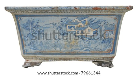 Chinese vase isolated in white