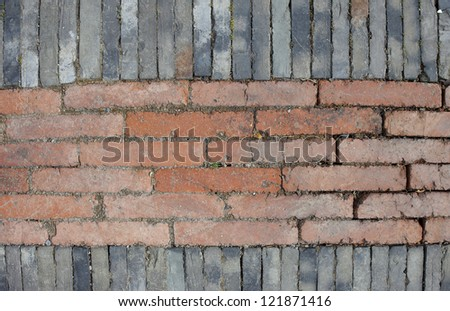 Chinese vintage brick road surface with grey and red