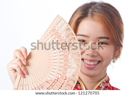 Chinese women with Cheongsam suit