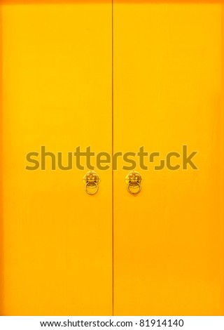 Chinese yellow door and door handles