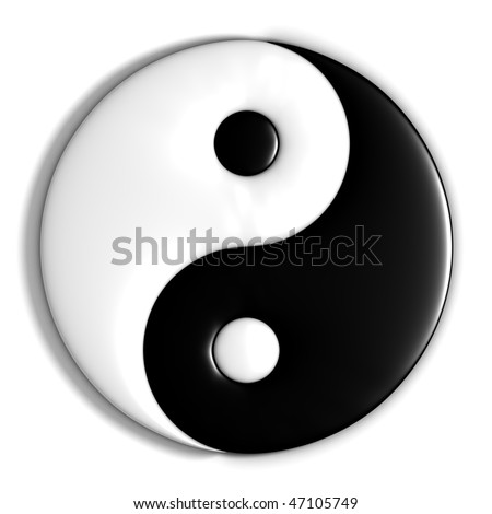 chinese yin yang symbol, isolated on white background