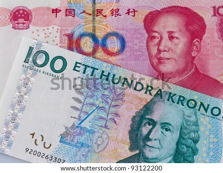 chinese yuan banknotes and swedish crowns. different currencies