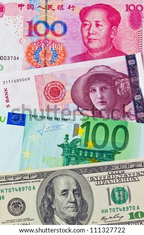 chinese yuan. eurp�¤ische-euro bank notes. american dollars. norwegian kroner - stock photo