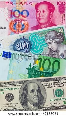 Chinese yuan. Future European euro notes. American dollars. Danish kroner