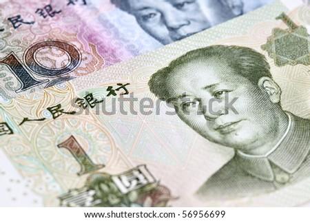 Chinese yuan renminbi  (RMB) banknotes close up
