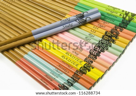Chinese Zodiac Chopsticks on White Background - stock photo