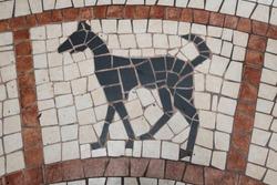 Chinese Zodiac of dog Year, Art mosaic glass or seamless glass mosaic on the wall,
