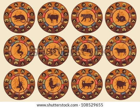 Chinese zodiac set with years and the five elements symbols