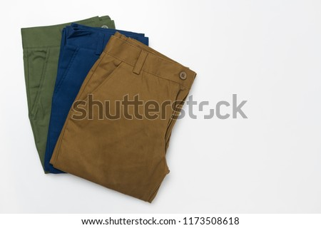 Chino Pants for men  isolated on white background, Brown , Green and Light navy color. #1173508618