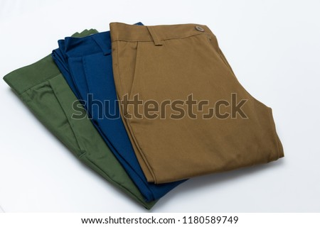 Chino Pants for men  isolated on white background, Brown , Green and Light navy color. #1180589749