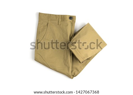 Chino Pants isolated on white background, khaki color. Foto stock ©
