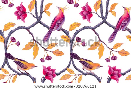 chinoiserie birds and flowers seamless background, romantic floral wallpaper