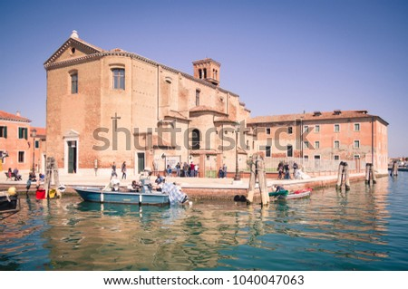 Chioggia, Italy - April 30, 2017: Church of Saint Dominic built on an island in Chioggia, Venice, Italy. #1040047063