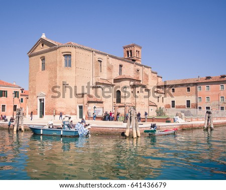 Chioggia, Italy - April 30, 2017: Church of Saint Dominic built on an island in Chioggia, Venice, Italy. #641436679