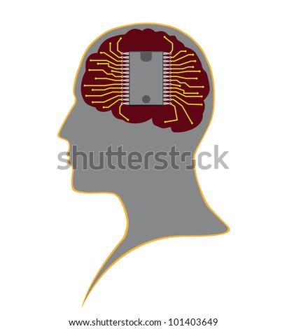 Chip in human head Stock fotó ©