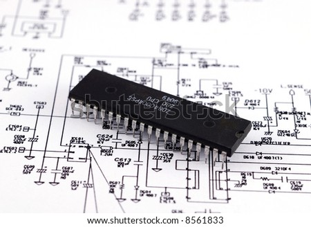 Chip situated on schematic background