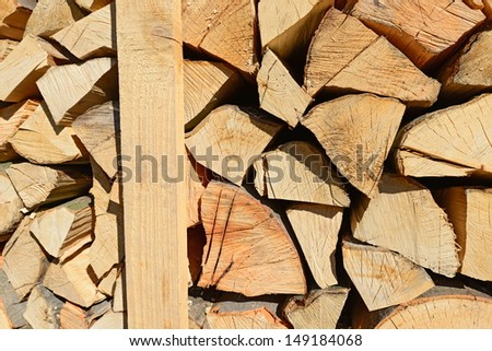 Chipped fire wood in packing on pallets.