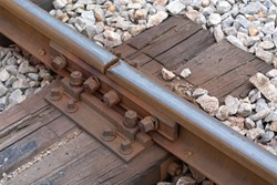 Chipped Rail at Fishplate Connection Old Railway in Serbia