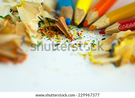 chipping crayon on white background