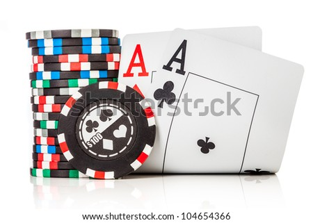 chips and two aces isolated on a white background