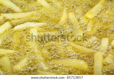 Chips stick fried close up