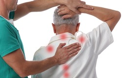Chiropractic treatment. Shiatsu massage, Back Pain trigger points. Physiotherapy for senior male patient