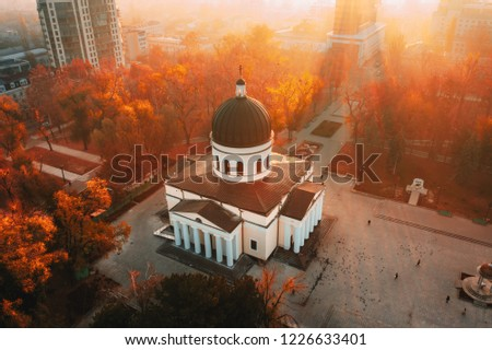 Chisinau Metropolitan Cathedral in Central Park,  Moldova Republic. Aerial view. Artistic tonning #1226633401