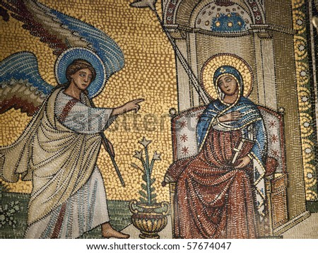 Chiusi - The Romanesque Cathedral (Duomo) of San Secondiano, built around 560 AD over a pre-existing basilica, and renovated in the 13th century. Mosaic with scenes from the life of Virgin Mary