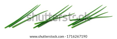 Chives isolated. Young green onion. Collection. Flat lay. Top view. Foto stock ©