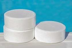 chlorine tablets from swimming pools, cleaning and maintenance