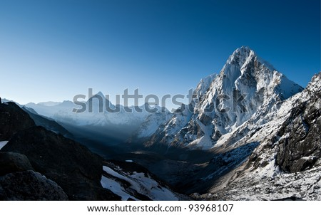Cho La pass during sunrise in Himalayas. at height 5200 m