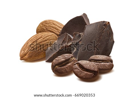 Chocolate almond coffee mocha beans isolated on white background as package design element Stock fotó ©