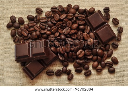 Chocolate and coffee beans on a textile background