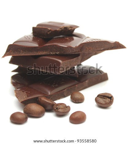 Chocolate and coffee on a white background