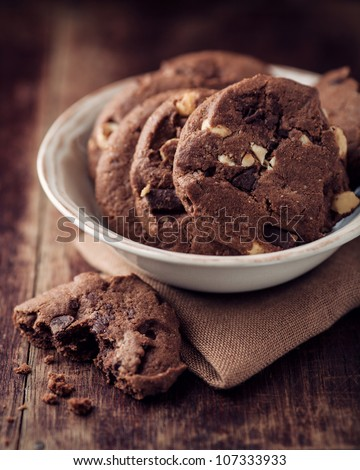 Chocolate and hazelnuts cookies in  a bowl