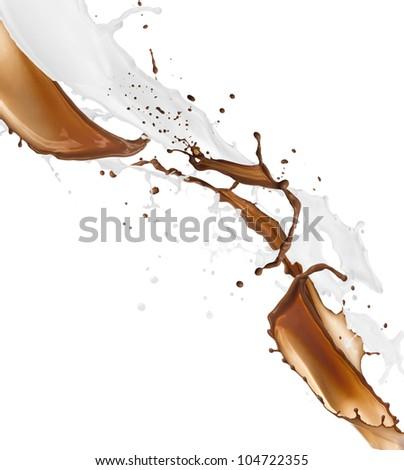 Chocolate and milk splash isolated on white background