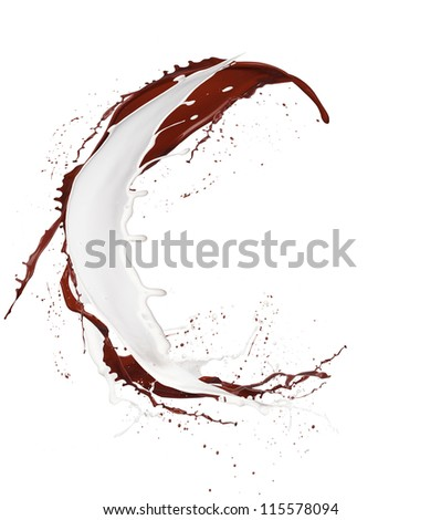 "Chocolate and milk splash letter ""C"" isolated on white background"