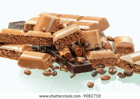 Chocolate and spices on white background