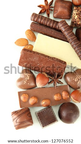 Chocolate and sweets isolated on white