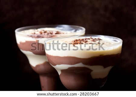 chocolate and vanilla pudding in a parfait glass dusting of chocolate on top