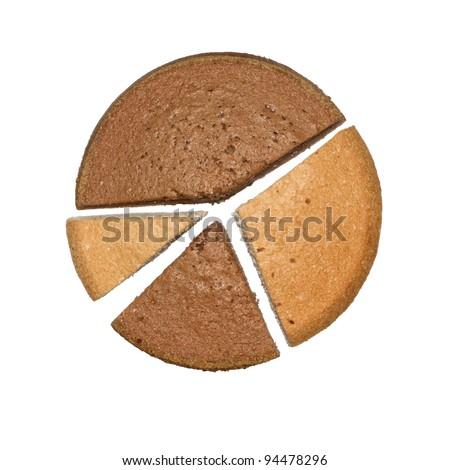 Chocolate and white sponge cakes slices on white  isolated background