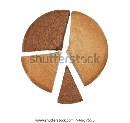 Chocolate and white sponge cakes with slices on white  isolated background