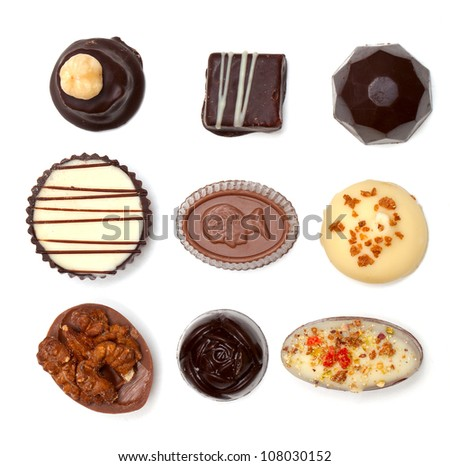 chocolate assortiment isolated on white background