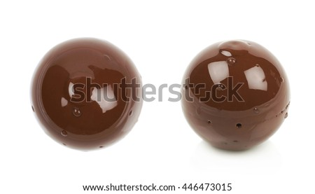 Chocolate ball candy isolated over the white background, set of two different foreshortenings