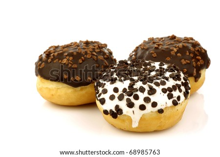 chocolate ball donuts on a white background